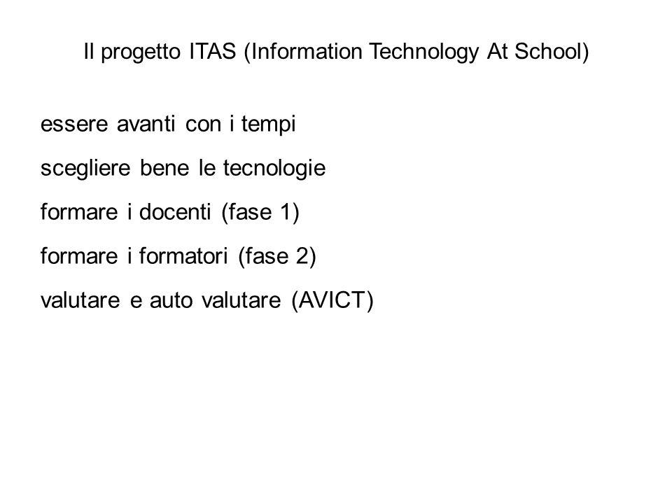 Il progetto ITAS (Information Technology At School) essere avanti con i tempi scegliere bene le tecnologie formare i docenti (fase 1) formare i format