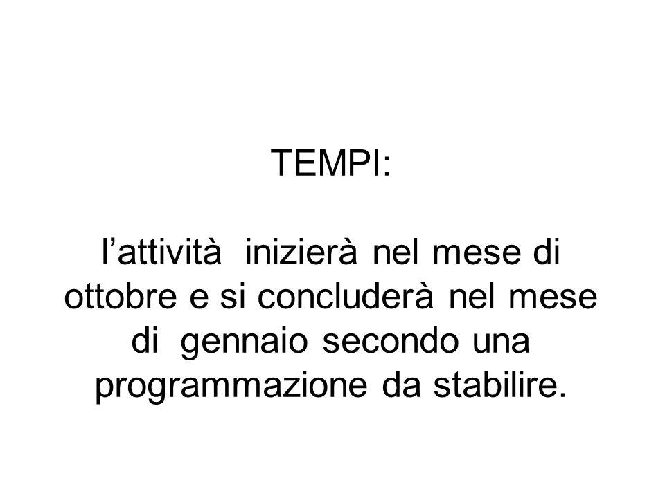TEMPI: lattività inizierà nel mese di ottobre e si concluderà nel mese di gennaio secondo una programmazione da stabilire.