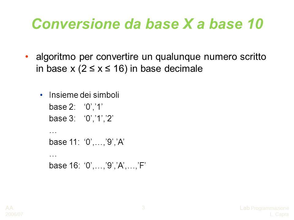 AA 2006/07 Lab Programmazione L. Capra 3 Conversione da base X a base 10 algoritmo per convertire un qualunque numero scritto in base x (2 x 16) in ba