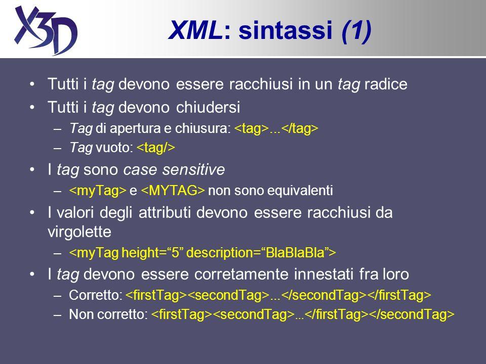 XML: sintassi (1) Tutti i tag devono essere racchiusi in un tag radice Tutti i tag devono chiudersi –Tag di apertura e chiusura:...