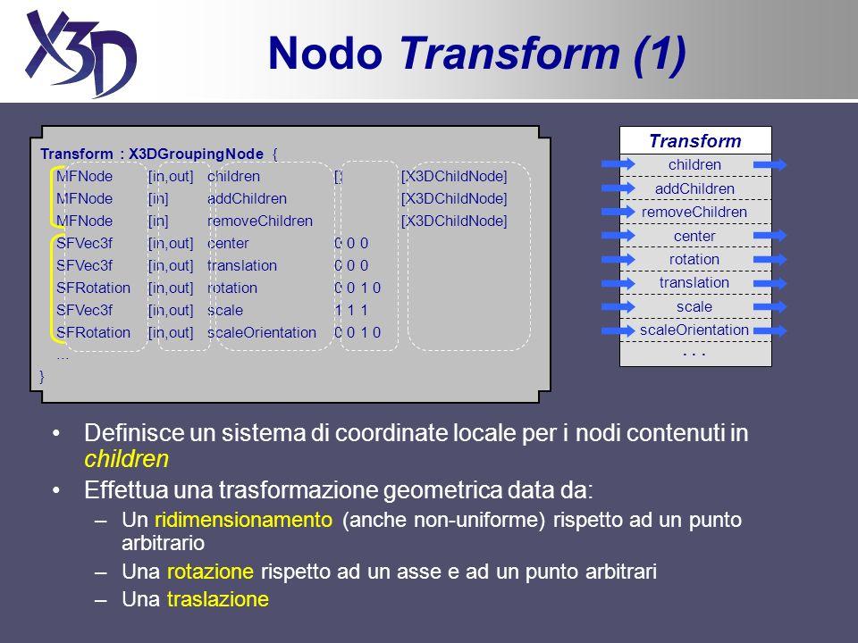 Nodo Transform (1) Definisce un sistema di coordinate locale per i nodi contenuti in children Effettua una trasformazione geometrica data da: –Un ridimensionamento (anche non-uniforme) rispetto ad un punto arbitrario –Una rotazione rispetto ad un asse e ad un punto arbitrari –Una traslazione Transform : X3DGroupingNode { MFNode [in,out] children [] [X3DChildNode] MFNode[in] addChildren [X3DChildNode] MFNode [in] removeChildren [X3DChildNode] SFVec3f [in,out] center 0 0 0 SFVec3f [in,out] translation 0 0 0 SFRotation [in,out] rotation 0 0 1 0 SFVec3f [in,out] scale 1 1 1 SFRotation [in,out] scaleOrientation 0 0 1 0...
