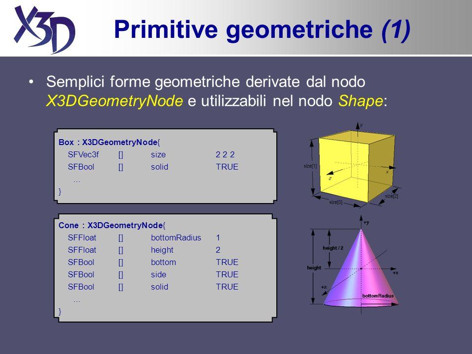 Primitive geometriche (1) Semplici forme geometriche derivate dal nodo X3DGeometryNode e utilizzabili nel nodo Shape: Box : X3DGeometryNode{ SFVec3f [] size 2 2 2 SFBool [] solid TRUE...