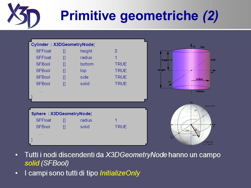 Primitive geometriche (2) Tutti i nodi discendenti da X3DGeometryNode hanno un campo solid (SFBool) I campi sono tutti di tipo InitializeOnly Cylinder : X3DGeometryNode{ SFFloat [] height 2 SFFloat [] radius 1 SFBool[]bottomTRUE SFBool[]topTRUE SFBool[]sideTRUE SFBool[]solidTRUE...