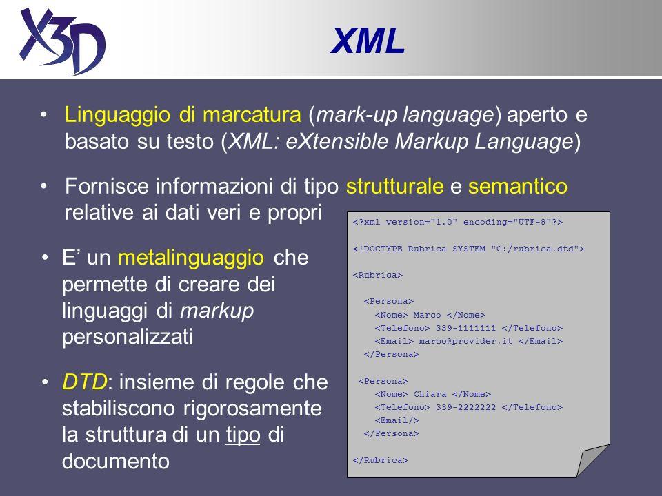 XML: tipi di documento <!DOCTYPE X3D PUBLIC http://www.web3d.org/x3d/content/x3d-3.0.dtd > Marco 339-1111111 marco@provider.it Chiara 339-2222222
