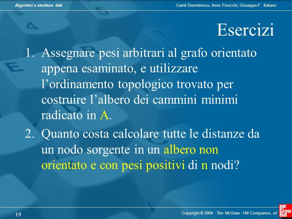 Camil Demetrescu, Irene Finocchi, Giuseppe F. ItalianoAlgoritmi e strutture dati Esercizi 1.Assegnare pesi arbitrari al grafo orientato appena esamina