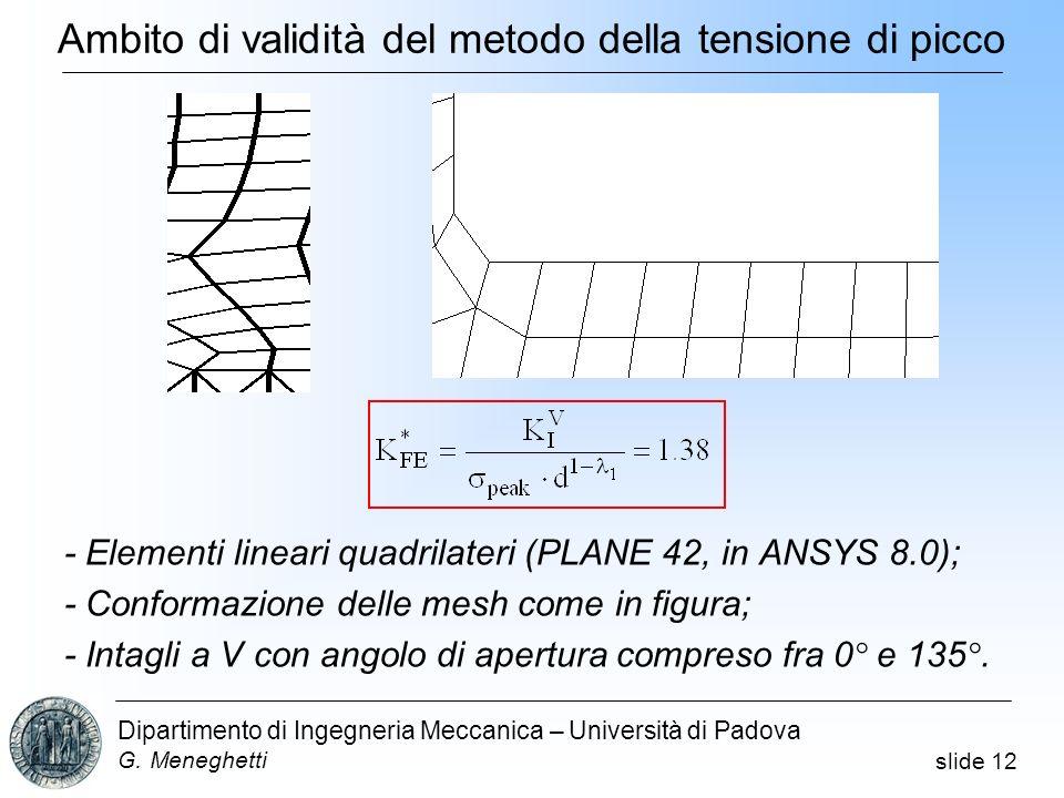 slide 12 Dipartimento di Ingegneria Meccanica – Università di Padova G. Meneghetti - Elementi lineari quadrilateri (PLANE 42, in ANSYS 8.0); - Conform
