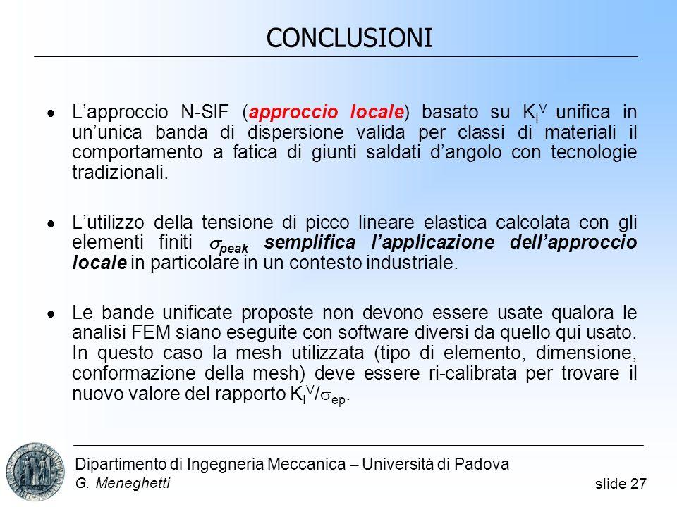 slide 27 Dipartimento di Ingegneria Meccanica – Università di Padova G. Meneghetti CONCLUSIONI Lapproccio N-SIF (approccio locale) basato su K I V uni