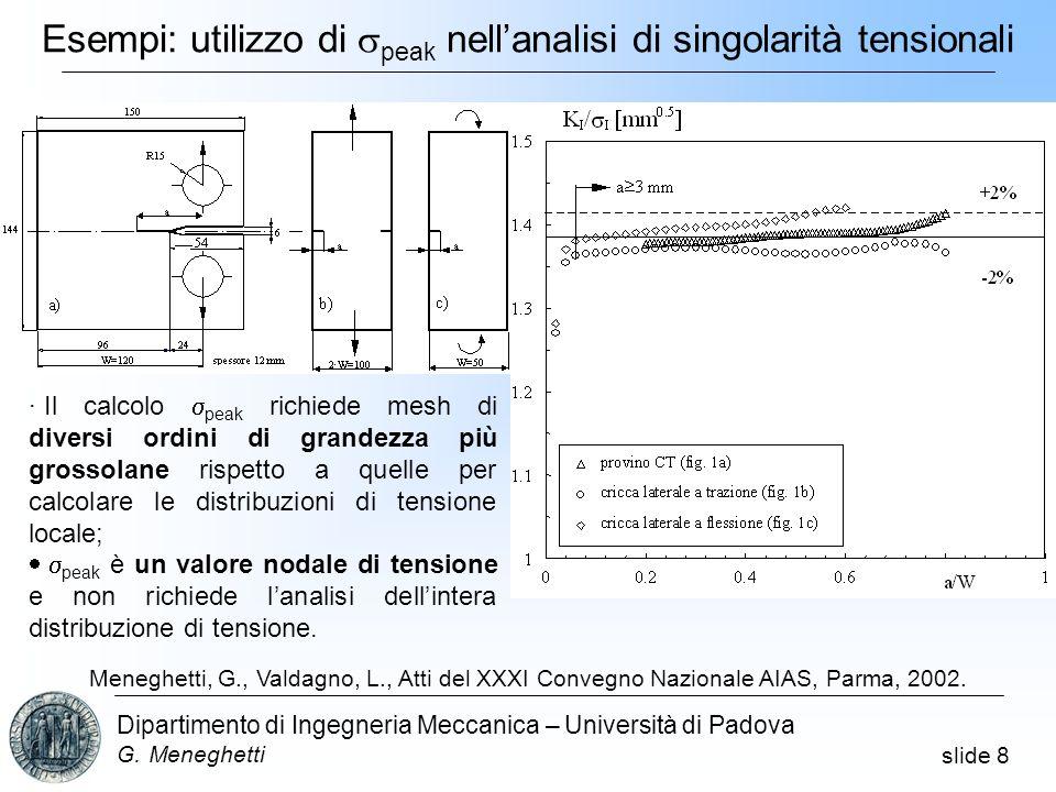 slide 8 Dipartimento di Ingegneria Meccanica – Università di Padova G. Meneghetti Esempi: utilizzo di peak nellanalisi di singolarità tensionali a= cr
