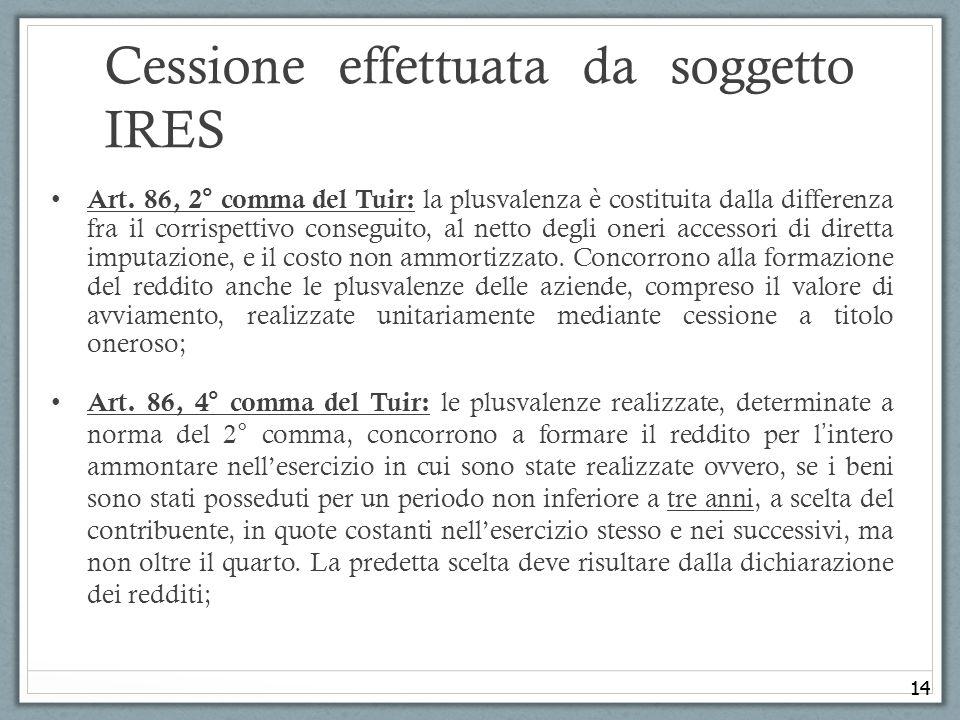 14 Cessione effettuata da soggetto IRES Art. 86, 2° comma del Tuir: la plusvalenza è costituita dalla differenza fra il corrispettivo conseguito, al n