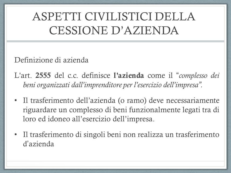 ASPETTI CIVILISTICI DELLA CESSIONE DAZIENDA Definizione di azienda L'art. 2555 del c.c. definisce l'azienda come il complesso dei beni organizzati dal