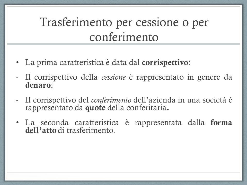 Trasferimento per cessione o per conferimento La prima caratteristica è data dal corrispettivo : -Il corrispettivo della cessione è rappresentato in g