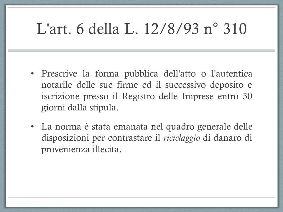 L'art. 6 della L. 12/8/93 n° 310 Prescrive la forma pubblica dell'atto o l'autentica notarile delle sue firme ed il successivo deposito e iscrizione p