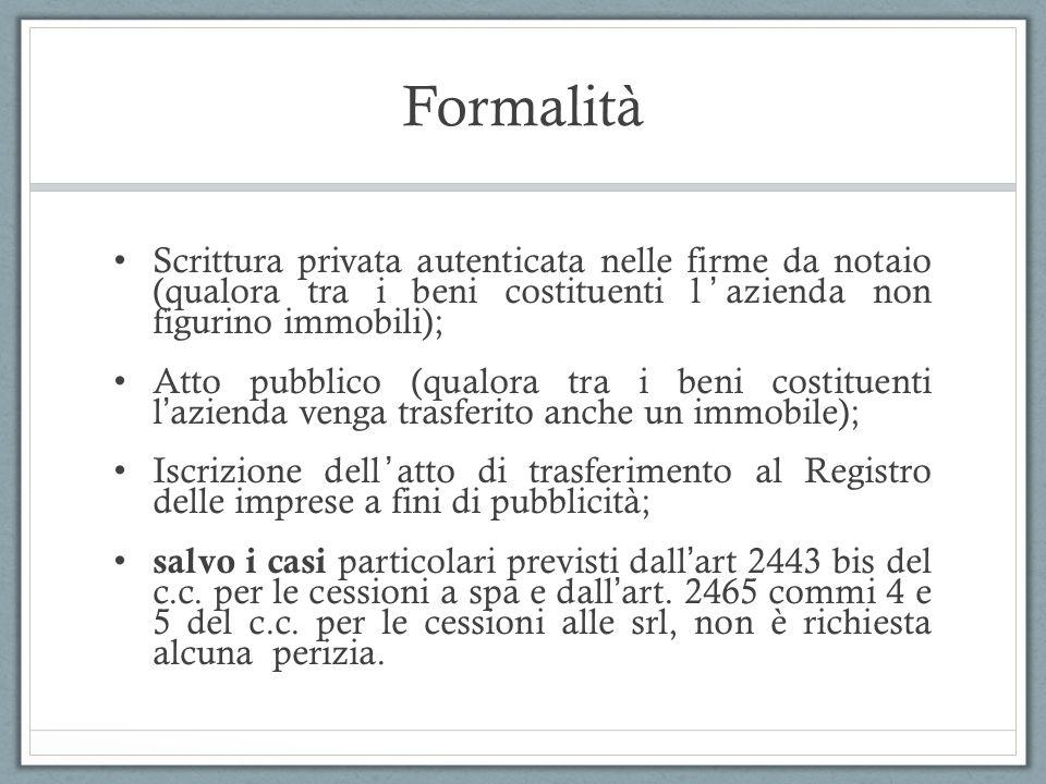 Formalità Scrittura privata autenticata nelle firme da notaio (qualora tra i beni costituenti lazienda non figurino immobili); Atto pubblico (qualora
