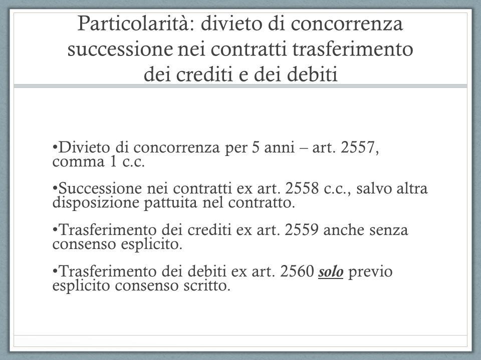 Particolarità: divieto di concorrenza successione nei contratti trasferimento dei crediti e dei debiti Divieto di concorrenza per 5 anni – art. 2557,