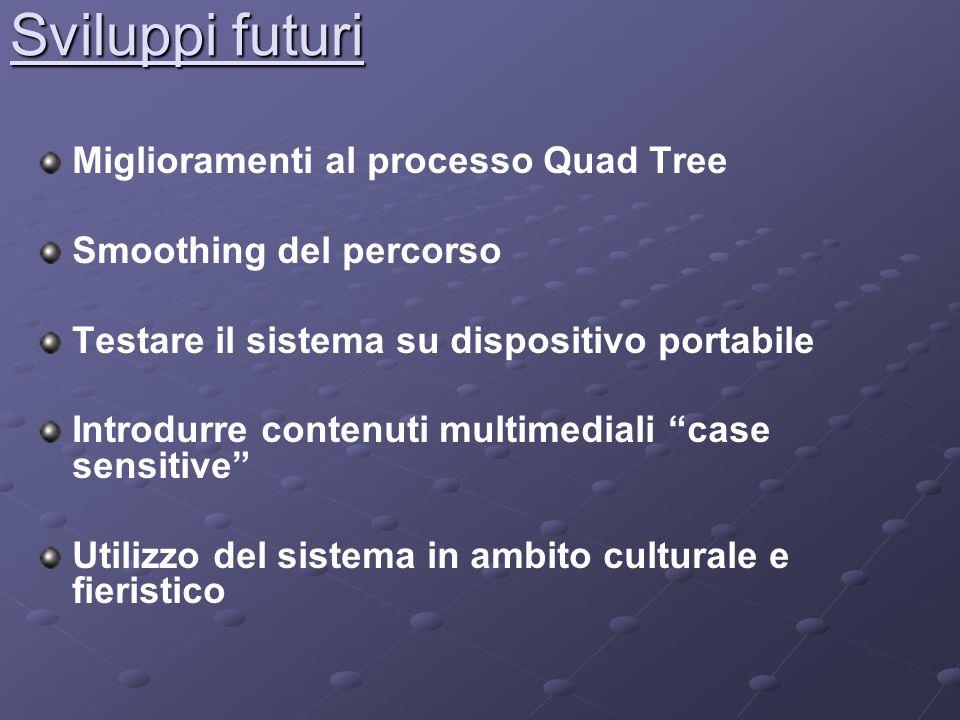 Sviluppi futuri Miglioramenti al processo Quad Tree Smoothing del percorso Testare il sistema su dispositivo portabile Introdurre contenuti multimediali case sensitive Utilizzo del sistema in ambito culturale e fieristico