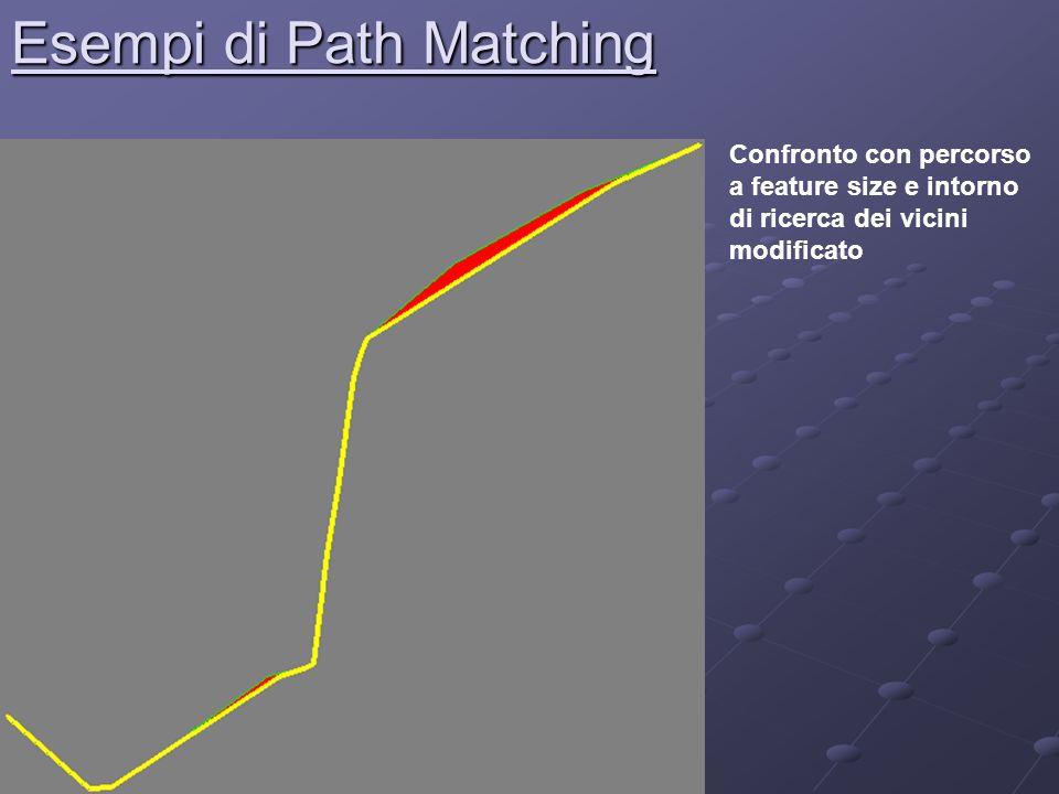 Esempi di Path Matching Confronto con percorso a feature size e intorno di ricerca dei vicini modificato