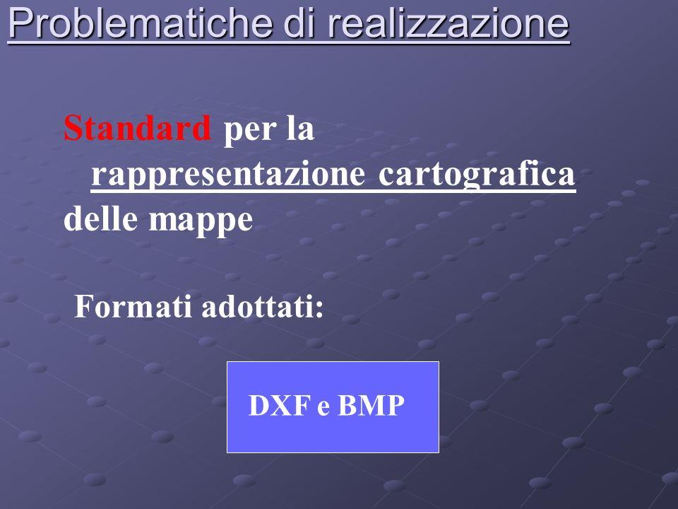 Problematiche di realizzazione Standard per la rappresentazione cartografica delle mappe DXF e BMP Formati adottati: