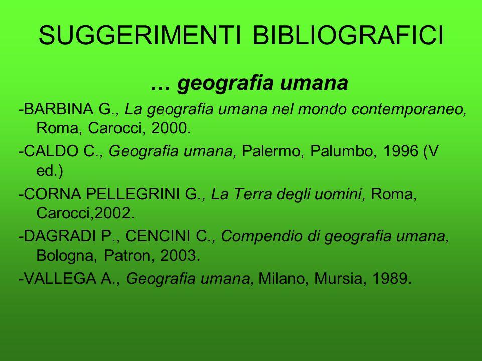 SUGGERIMENTI BIBLIOGRAFICI … geografia umana -BARBINA G., La geografia umana nel mondo contemporaneo, Roma, Carocci, 2000. -CALDO C., Geografia umana,