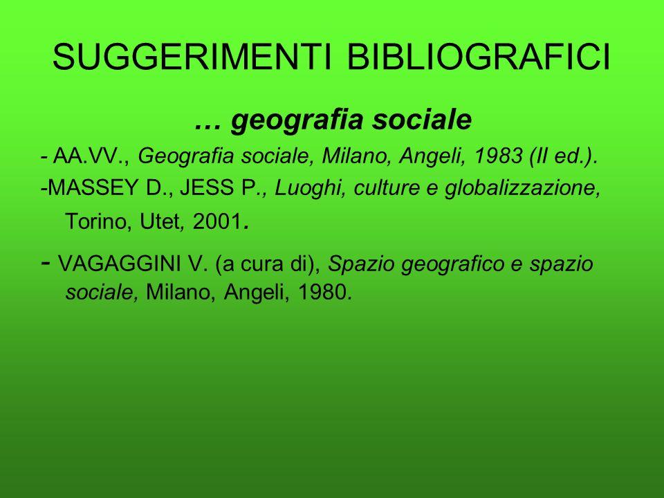 SUGGERIMENTI BIBLIOGRAFICI … geografia sociale - AA.VV., Geografia sociale, Milano, Angeli, 1983 (II ed.). -MASSEY D., JESS P., Luoghi, culture e glob