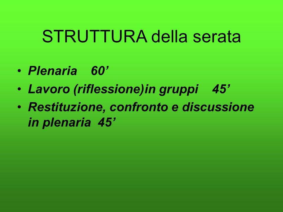 STRUTTURA della serata Plenaria 60 Lavoro (riflessione)in gruppi 45 Restituzione, confronto e discussione in plenaria 45