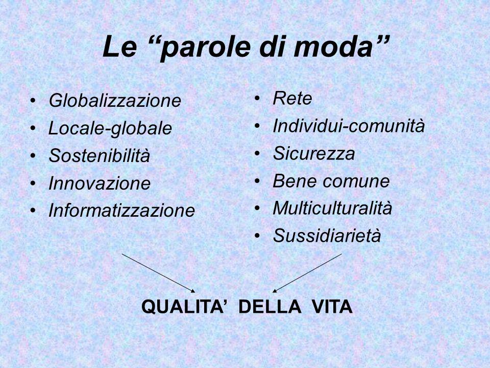 Le parole di moda Globalizzazione Locale-globale Sostenibilità Innovazione Informatizzazione Rete Individui-comunità Sicurezza Bene comune Multicultur