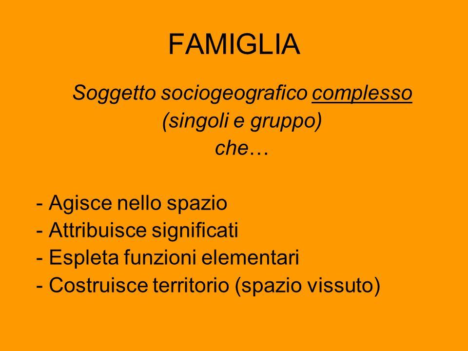 FAMIGLIA Soggetto sociogeografico complesso (singoli e gruppo) che… - Agisce nello spazio - Attribuisce significati - Espleta funzioni elementari - Co