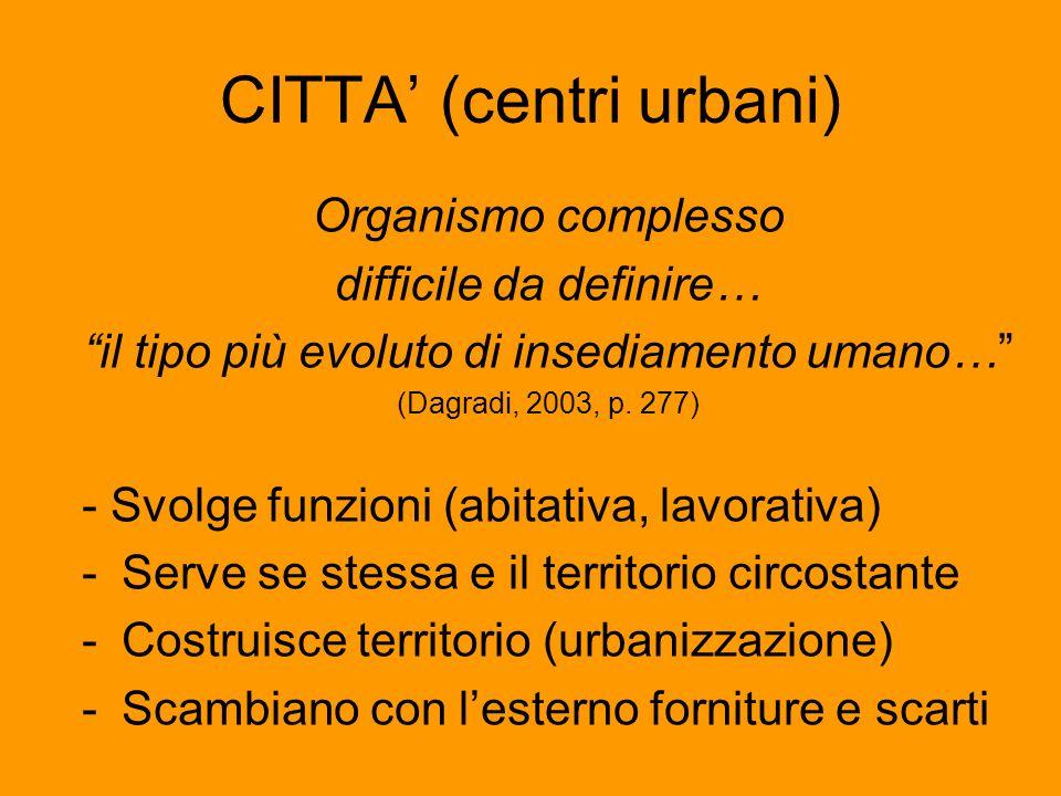 CITTA (centri urbani) Organismo complesso difficile da definire… il tipo più evoluto di insediamento umano… (Dagradi, 2003, p. 277) - Svolge funzioni