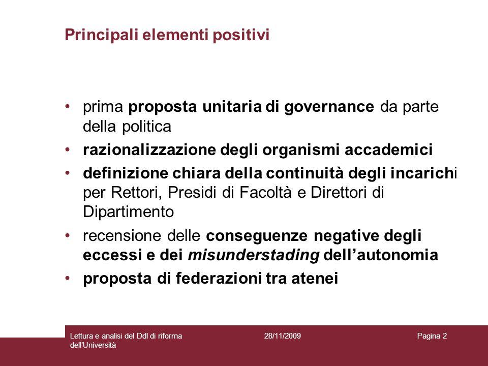28/11/2009Lettura e analisi del Ddl di riforma dellUniversità Pagina 2 Principali elementi positivi prima proposta unitaria di governance da parte del