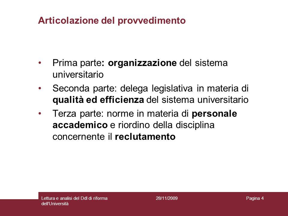 28/11/2009Lettura e analisi del Ddl di riforma dellUniversità Pagina 4 Articolazione del provvedimento Prima parte: organizzazione del sistema univers