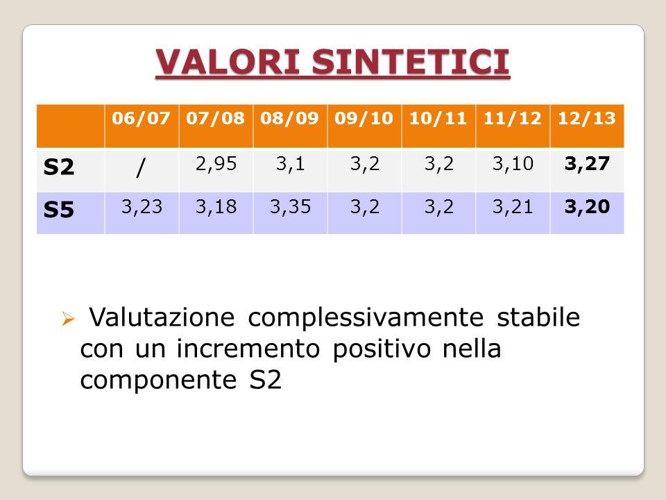 Valutazione complessivamente stabile con un incremento positivo nella componente S2 VALORI SINTETICI 06/0707/0808/0909/1010/1111/1212/13 S2/ 2,953,13,2 3,103,27 S5 3,233,183,353,2 3,213,20