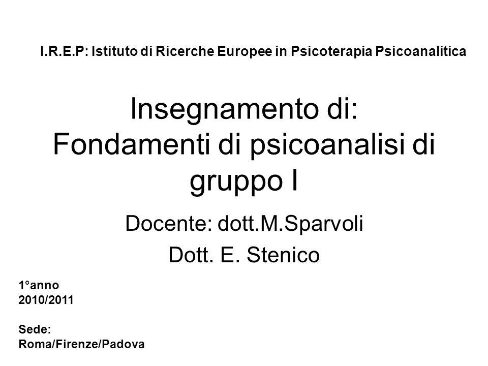 Insegnamento di: Fondamenti di psicoanalisi di gruppo I Docente: dott.M.Sparvoli Dott. E. Stenico I.R.E.P: Istituto di Ricerche Europee in Psicoterapi