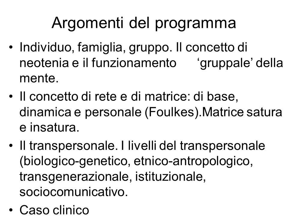 Individuo, famiglia, gruppo. Il concetto di neotenia e il funzionamento gruppale della mente. Il concetto di rete e di matrice: di base, dinamica e pe