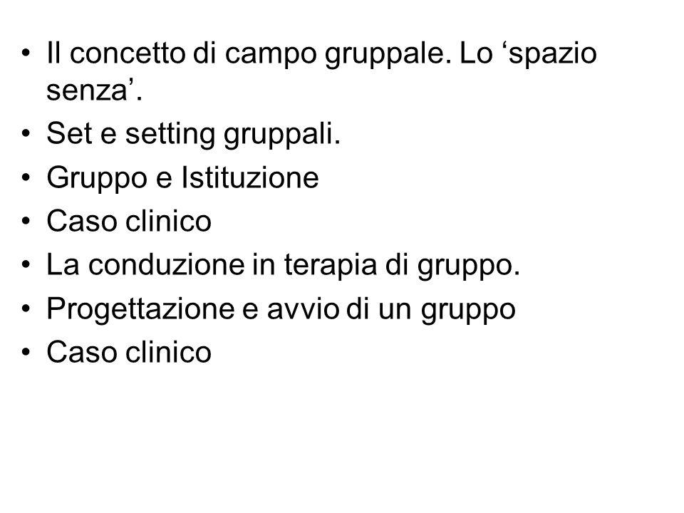 Il concetto di campo gruppale. Lo spazio senza. Set e setting gruppali. Gruppo e Istituzione Caso clinico La conduzione in terapia di gruppo. Progetta