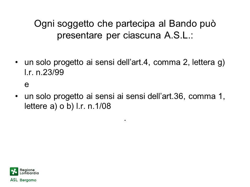 un solo progetto ai sensi dellart.4, comma 2, lettera g) l.r.