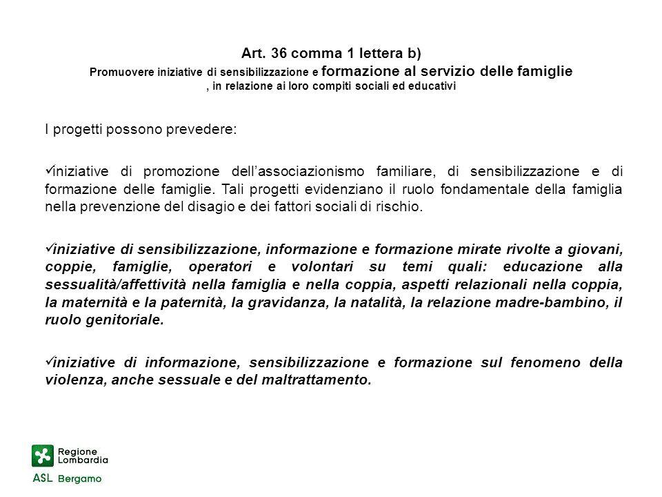 Art. 36 comma 1 lettera b) Promuovere iniziative di sensibilizzazione e formazione al servizio delle famiglie, in relazione ai loro compiti sociali ed