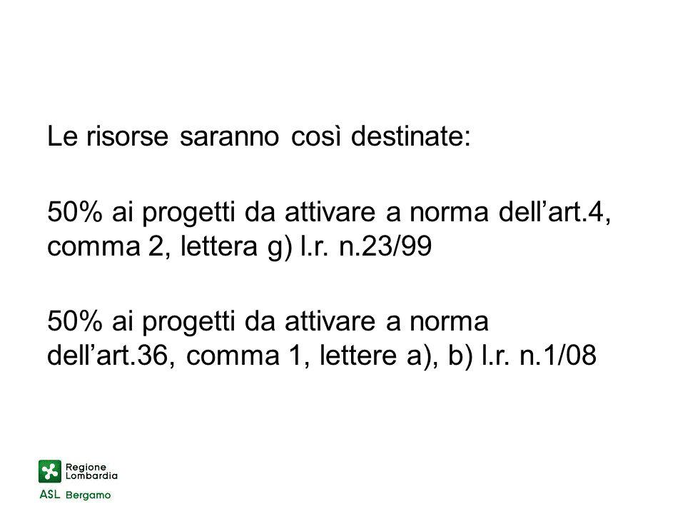 Le risorse saranno così destinate: 50% ai progetti da attivare a norma dellart.4, comma 2, lettera g) l.r.