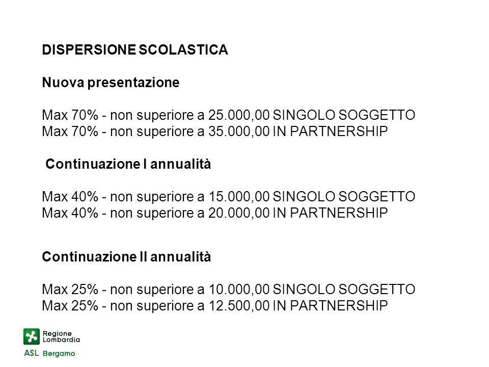 DISPERSIONE SCOLASTICA Nuova presentazione Max 70% - non superiore a 25.000,00 SINGOLO SOGGETTO Max 70% - non superiore a 35.000,00 IN PARTNERSHIP Continuazione I annualità Max 40% - non superiore a 15.000,00 SINGOLO SOGGETTO Max 40% - non superiore a 20.000,00 IN PARTNERSHIP Continuazione II annualità Max 25% - non superiore a 10.000,00 SINGOLO SOGGETTO Max 25% - non superiore a 12.500,00 IN PARTNERSHIP