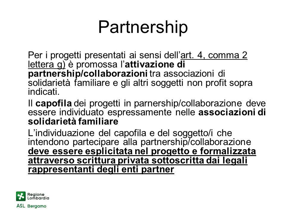 Partnership Per i progetti presentati ai sensi dellart.