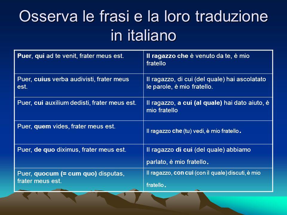 Osserva le frasi e la loro traduzione in italiano Puer, qui ad te venit, frater meus est.Il ragazzo che è venuto da te, è mio fratello Puer, cuius ver