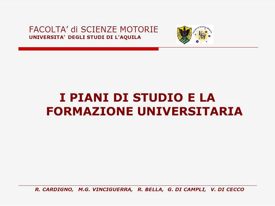 FACOLTA di SCIENZE MOTORIE UNIVERSITA DEGLI STUDI DI LAQUILA I PIANI DI STUDIO E LA FORMAZIONE UNIVERSITARIA R. CARDIGNO, M.G. VINCIGUERRA, R. BELLA,