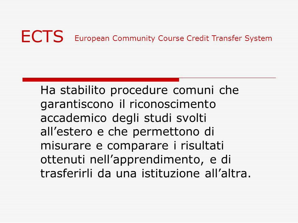 ECTS Ha stabilito procedure comuni che garantiscono il riconoscimento accademico degli studi svolti allestero e che permettono di misurare e comparare