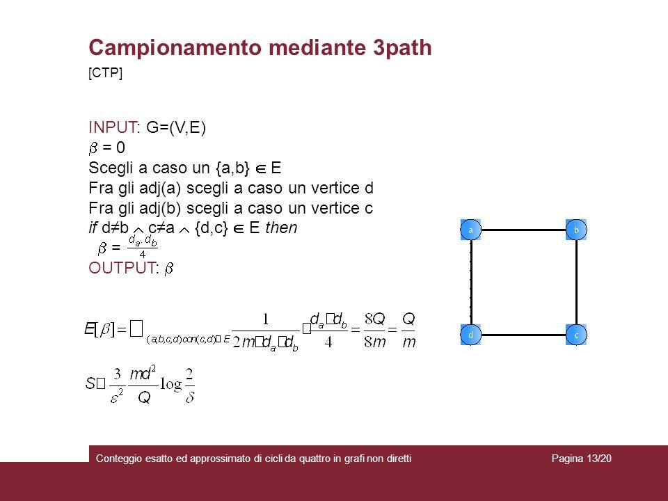 Campionamento mediante 3path Conteggio esatto ed approssimato di cicli da quattro in grafi non diretti [CTP] INPUT: G=(V,E) = 0 Scegli a caso un {a,b} E Fra gli adj(a) scegli a caso un vertice d Fra gli adj(b) scegli a caso un vertice c if db ca {d,c} E then = OUTPUT: Pagina 13/20