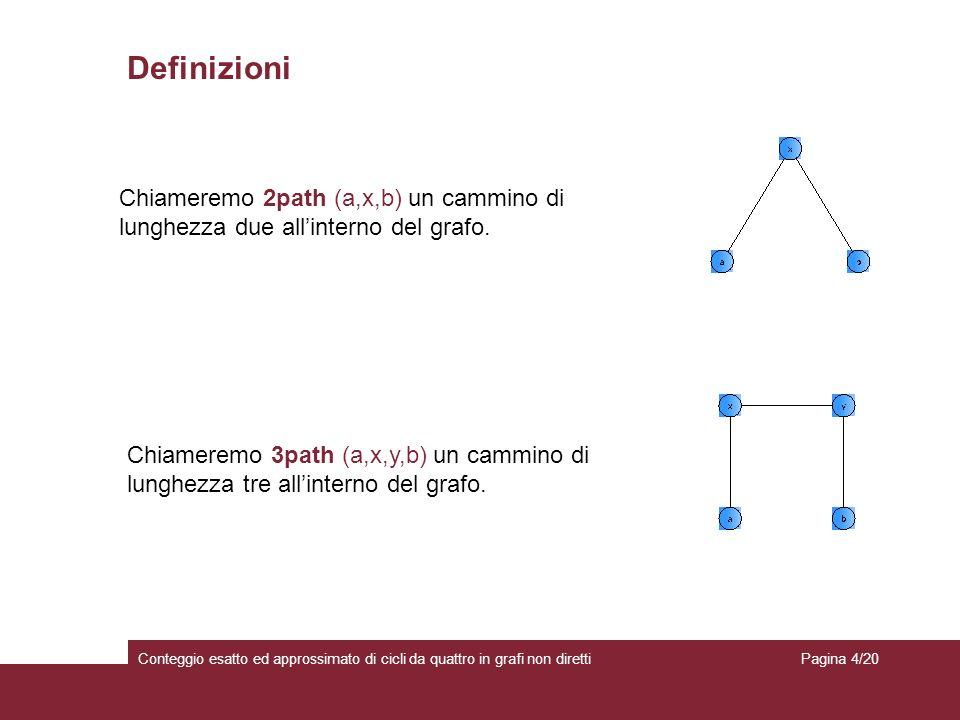 Conteggio esatto ed approssimato di cicli da quattro in grafi non diretti Definizioni Chiameremo 2path (a,x,b) un cammino di lunghezza due allinterno