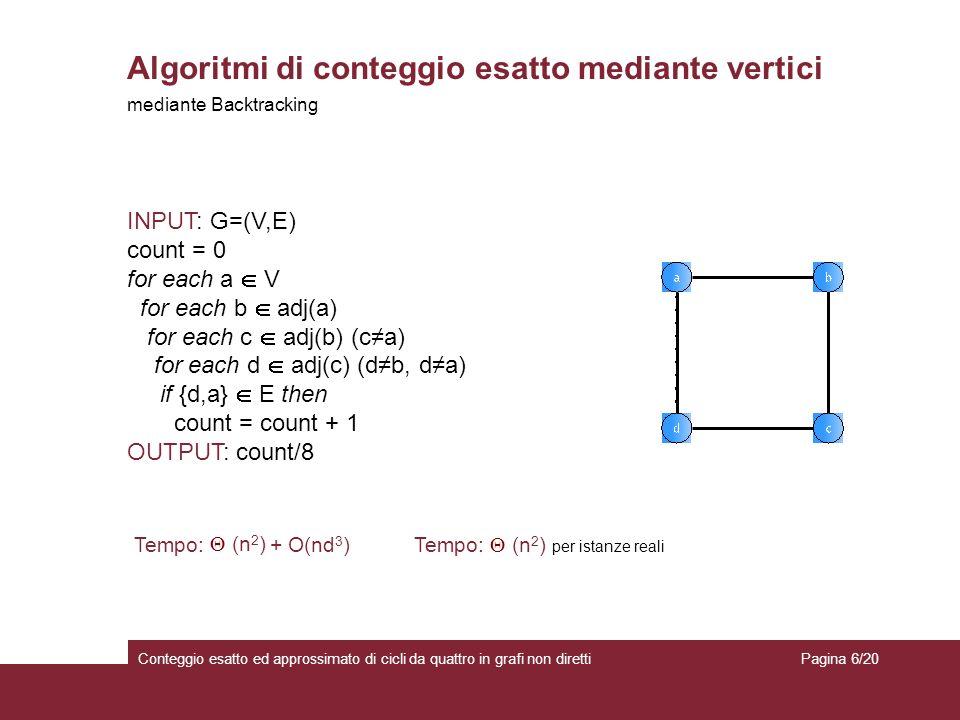 Tempo: (n 2 ) per istanze reali Algoritmi di conteggio esatto mediante vertici Conteggio esatto ed approssimato di cicli da quattro in grafi non diret