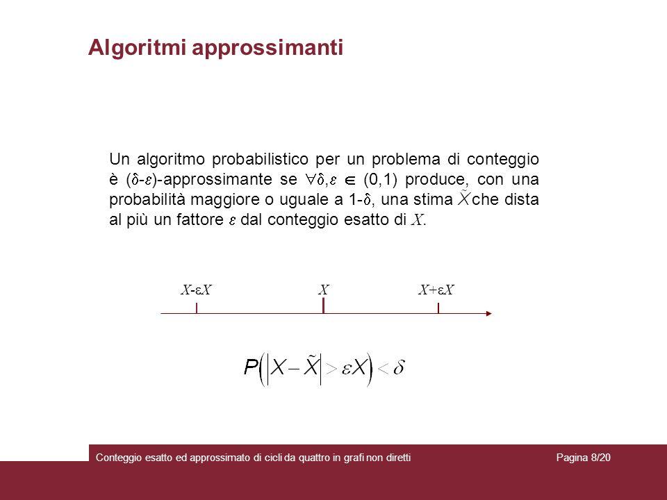 Algoritmi approssimanti Conteggio esatto ed approssimato di cicli da quattro in grafi non diretti Un algoritmo probabilistico per un problema di conteggio è ( - )-approssimante se, (0,1) produce, con una probabilità maggiore o uguale a 1-, una stima e che dista al più un fattore dal conteggio esatto di X.