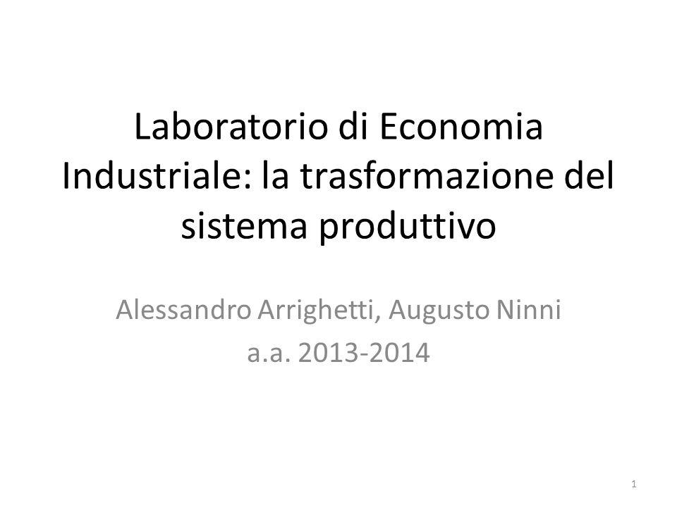Laboratorio di Economia Industriale: la trasformazione del sistema produttivo Alessandro Arrighetti, Augusto Ninni a.a.