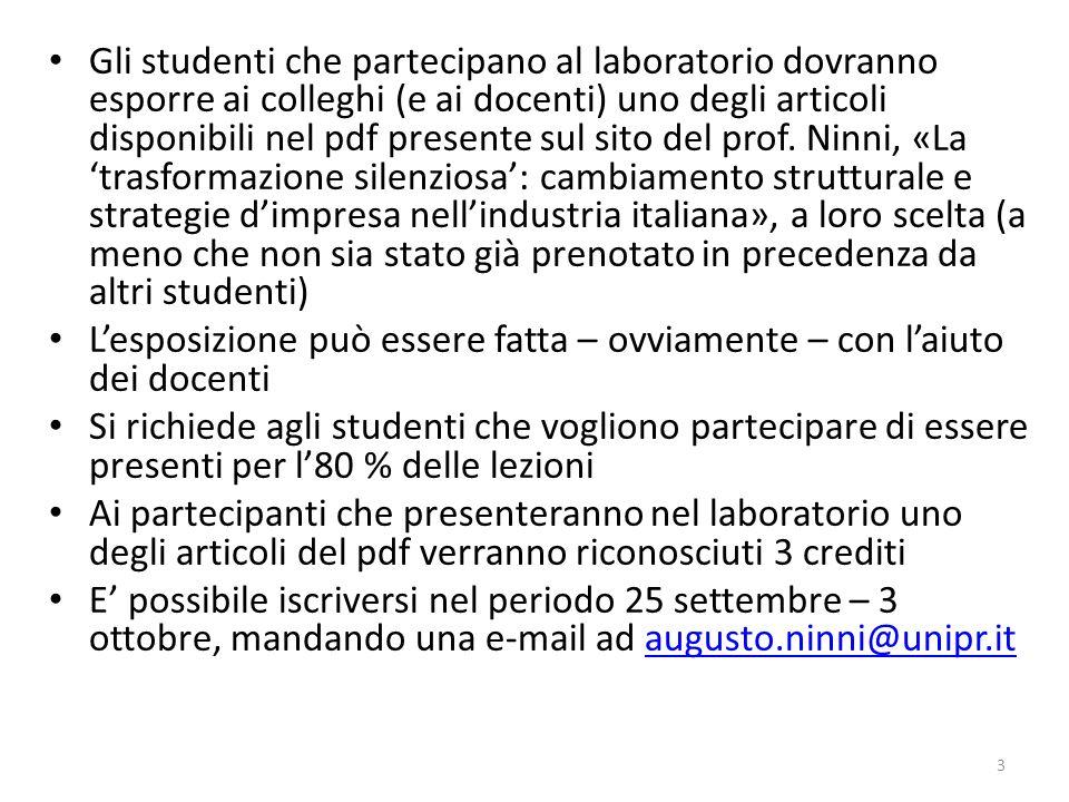 Gli studenti che partecipano al laboratorio dovranno esporre ai colleghi (e ai docenti) uno degli articoli disponibili nel pdf presente sul sito del p