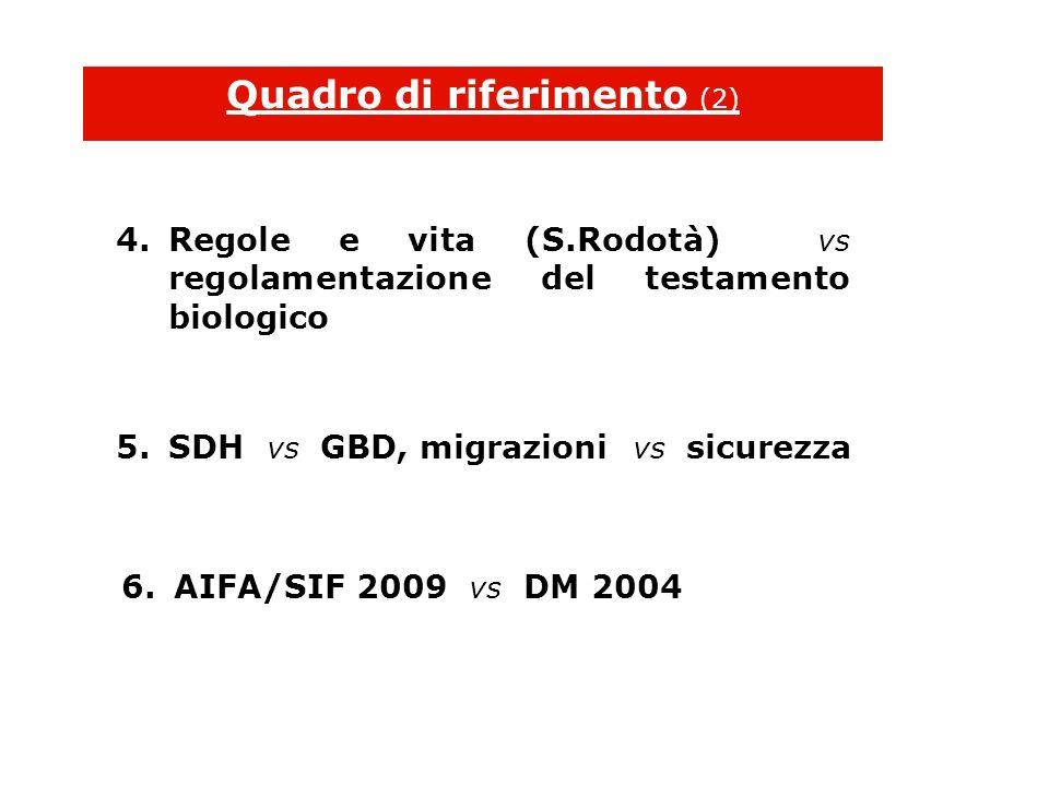 5.SDH vs GBD, migrazioni vs sicurezza Quadro di riferimento (2) 4.Regole e vita (S.Rodotà) vs regolamentazione del testamento biologico 6.AIFA/SIF 2009 vs DM 2004