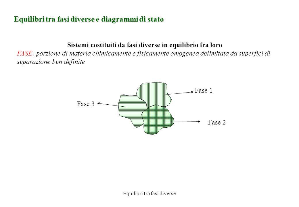 Equilibri tra fasi diverse Equilibri tra fasi diverse e diagrammi di stato Sistemi costituiti da fasi diverse in equilibrio fra loro FASE: porzione di materia chimicamente e fisicamente omogenea delimitata da superfici di separazione ben definite Fase 1 Fase 2 Fase 3