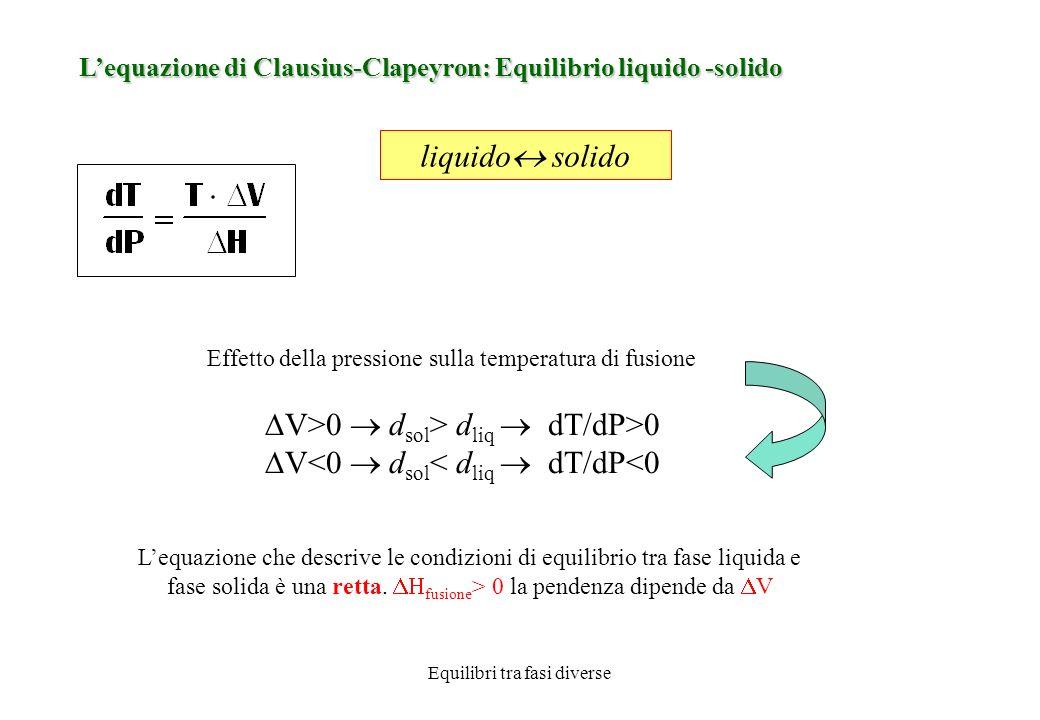 Equilibri tra fasi diverse T A *, T B * : temperature di solidificazione (o di fusione) componenti puri l A, l B : curve di solidificazione di A e di B T E : temperatura eutettica; E : punto eutettico Il punto EUTETTICO è caratterizzato dalla presenza di 3 fasi in equilibrio (2 solide e 1 liquida) La temperatura T E è la T al di sotto della quale non può esistere la fase liquida Soluzione liquida Z (composizione x 0 ) : alla T = T 1 iniziano a separarsi cristalli di A puro.